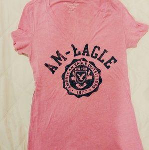 American Eagle Pink Logo V-Neck Tee